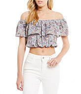 Moa Moa Off-The-Shoulder Ruffle Floral Crop Top