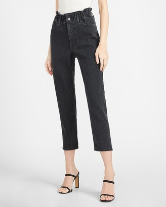 Express Super High Waisted Black Paperbag Mom Jeans