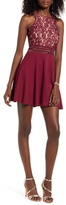 Speechless Illusion Detail Cutout Skater Dress