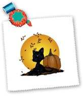 3dRose qs_19396_1 Cat with Pumpkins and Halloween Moon Quilt Square, 10 by 10-Inch