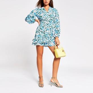 River Island Womens Blue long sleeve frill ruched mini tea dress
