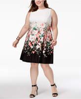 Jessica Howard Plus Size Floral Colorblocked Dress