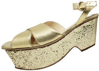 Prada Gold Saffiano Leather and Glitter Ankle Strap Wedge Sandals Size 37