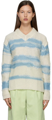 Acne Studios Off-White and Blue Striped Sweater