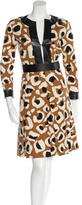 Gucci Leather-Trimmed Silk Dress w/ Tags