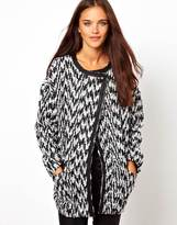 Glamorous Car Coat In Monochrome Zig Zag Print