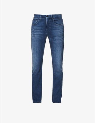 7 For All Mankind Mens Blue Slimmy Tapered Luxe Performance Plus Slim Jeans, Size: 28