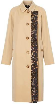 Burberry Cotton Leopard Print-Lined Car Coat