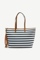 Ardene Striped Faux Leather Tote Bag