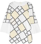 Oscar de la Renta Lace-Paneled Wool, Silk And Cashmere-Blend Sweater