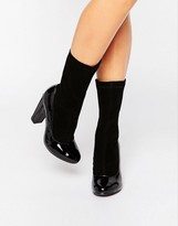 Daisy Street Black Patent Sock Heeled Ankle Boots
