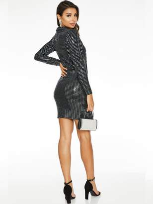 Quiz X Sam Faiers Sequin Long Sleeve Blazer Dress - Silver Black
