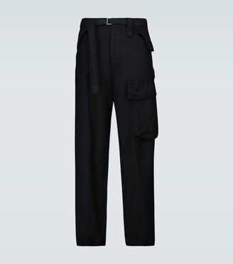 Sacai Solid Shrivel soft cargo wool pants