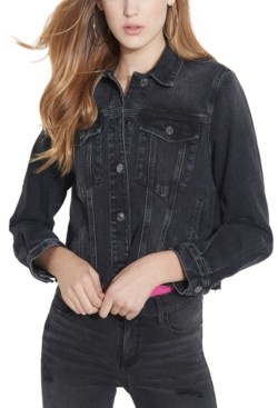GUESS Cropped Graphic Denim Jacket