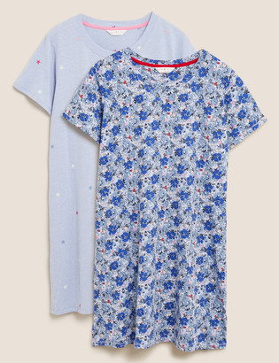 Marks and Spencer 2pk Cotton Floral Print Short Nightdresses