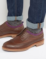 Asos Brogue Shoes In Brown Leather With Natural Sole