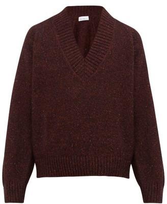 Raey V-neck Tweed-effect Wool-blend Sweater - Burgundy