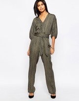 Pepe Jeans Donny Wrap Front Belted Jumpsuit