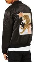 Topman Men's Embroidered Tiger Bomber Jacket