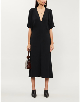 Victoria Beckham V-neck cut-out sleeve crepe midi dress