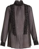 No.21 NO. 21 High-neck ruffle-trimmed silk blouse