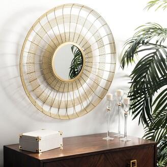 """Safavieh Acton Brass 28-inch Round Decorative Mirror - 28"""" x 28"""" x 2"""""""