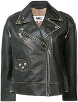 MM6 MAISON MARGIELA zipped biker jacket - women - Leather - 38