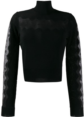 Alexander McQueen sheer panel turtleneck jumper
