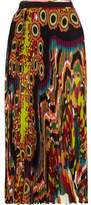 Roberto Cavalli Pleated Printed Silk-Georgette Midi Skirt