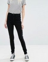 Only High Waist 7/8 Skinny Jeans with Ankle Zip in Black Wash