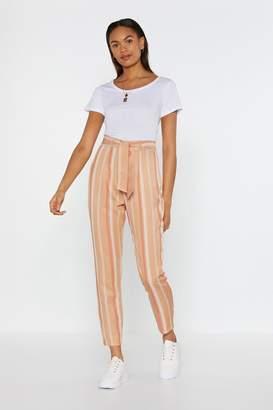 Nasty Gal Womens Natural Stripe Tie Waist Trousers - beige - 10