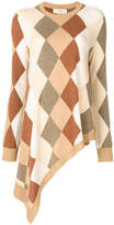 Pringle asymmetric argyle knit jumper
