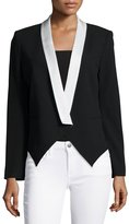 Haute Hippie Boy Two-Tone Blazer, Black/Swan