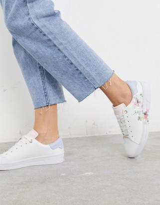 Ted Baker lennei floral trainers in ivory
