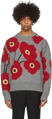 Ami Alexandre Mattiussi Grey and Red Jacquard Flowers Sweater