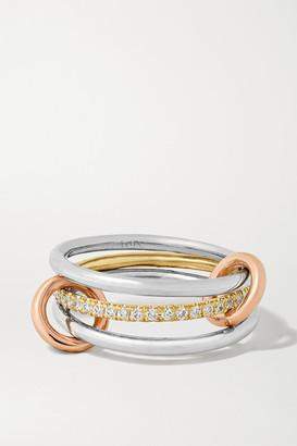 Spinelli Kilcollin Sonny Mx Set Of Three 18-karat White, Yellow And Rose Gold And Diamond Rings - 5