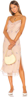 LPA Embroidered Cowl Neck Dress With Slits