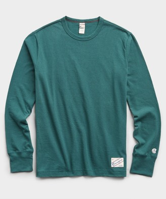 On Heavy Weight Long Sleeve Jock Tag Tee in Storm Green