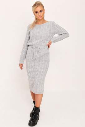 I SAW IT FIRST Grey Tie Waist Cable Knit Dress