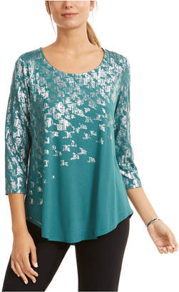JM Collection Petite Foil-Print Top
