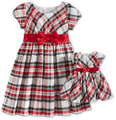 Bonnie Jean Metallic Plaid Special Occasion Dress & Doll Dress, Toddler Girls (2T-5T) & Little Girls (2-6X)