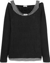 Splendid Bardane Layered Ribbed-knit And Striped Jersey Top - Black