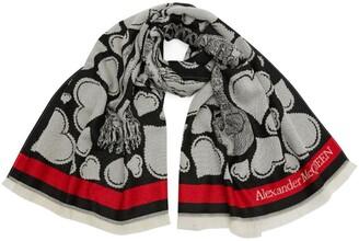 Alexander McQueen Wool Love Letter Skeleton Scarf