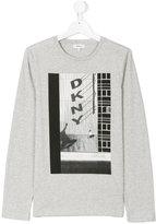 DKNY Teen logo skateboard print top