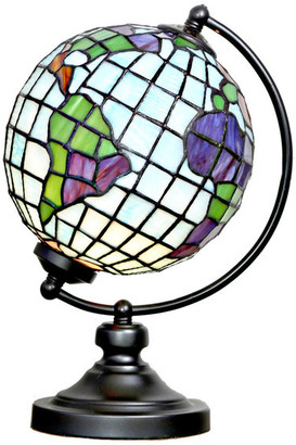 """River Of Goods 14.9"""" Tiffany Style Stained Glass Round Globe Table Lamp"""