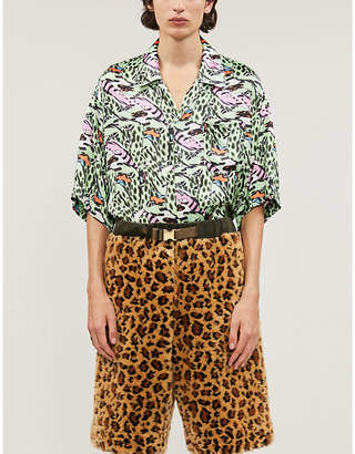 Marni Graphic-print relaxed-fit satin-twill shirt
