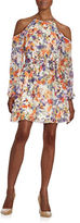 GUESS Floral Print Cold-Shoulder Dress