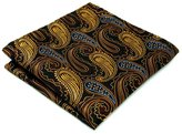 Shlax & Wing Mens Hanky Golden Brown Paisley Pocket Square Silk