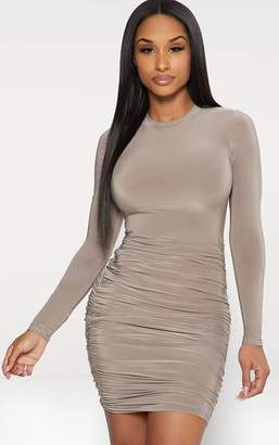 PrettyLittleThing Taupe Second Skin Slinky Long Sleeve Ruched Bodycon Dress