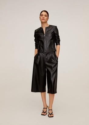 MANGO Leather biker jacket black - XS - Women